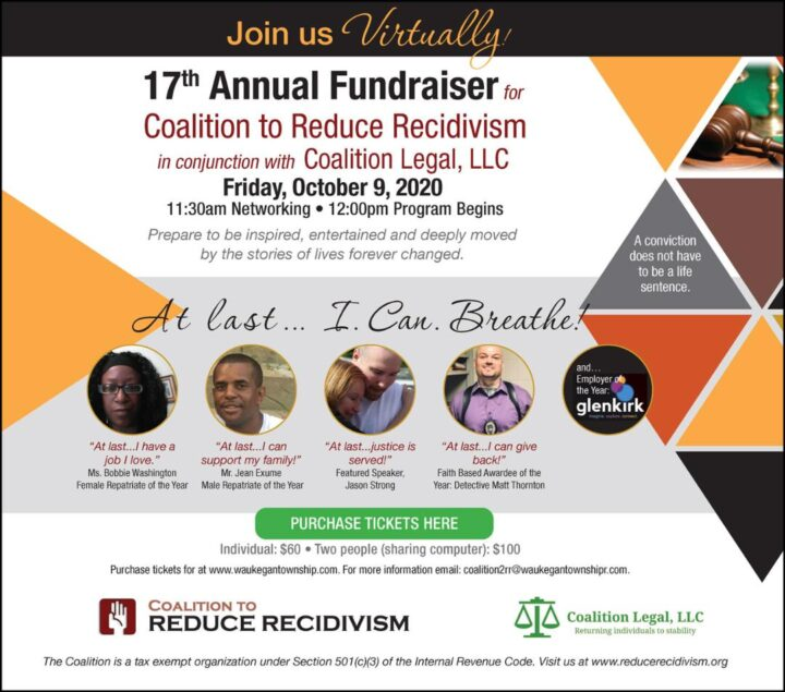 10/9/2020 – 17th Annual Fundraiser for the The Coalition to Reduce Recidivism
